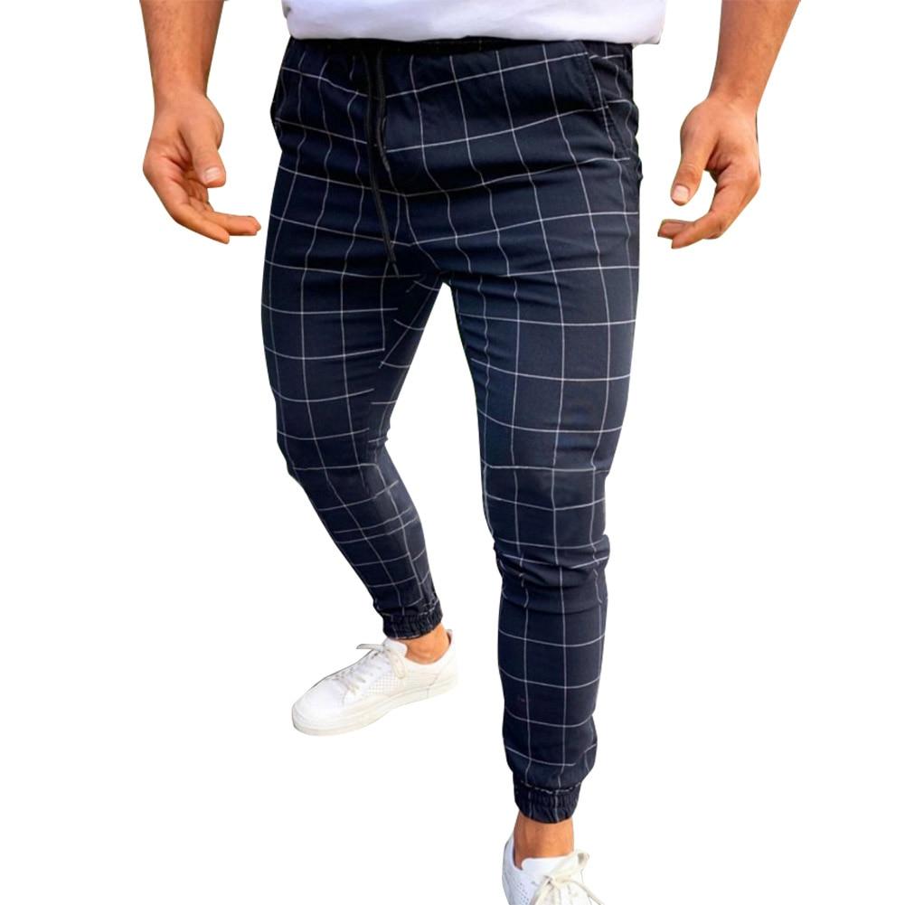 HOT Men Pants Casual Skinny Jogging Joggers Slim Fit Tracksuit Sweat Plaid Pencil Pants Long Trousers 19ING