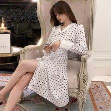Big Size Women Peter Pan Collar Long Sleeve Loose Elegant Dress Singer Button Autumn Print Polka Dot