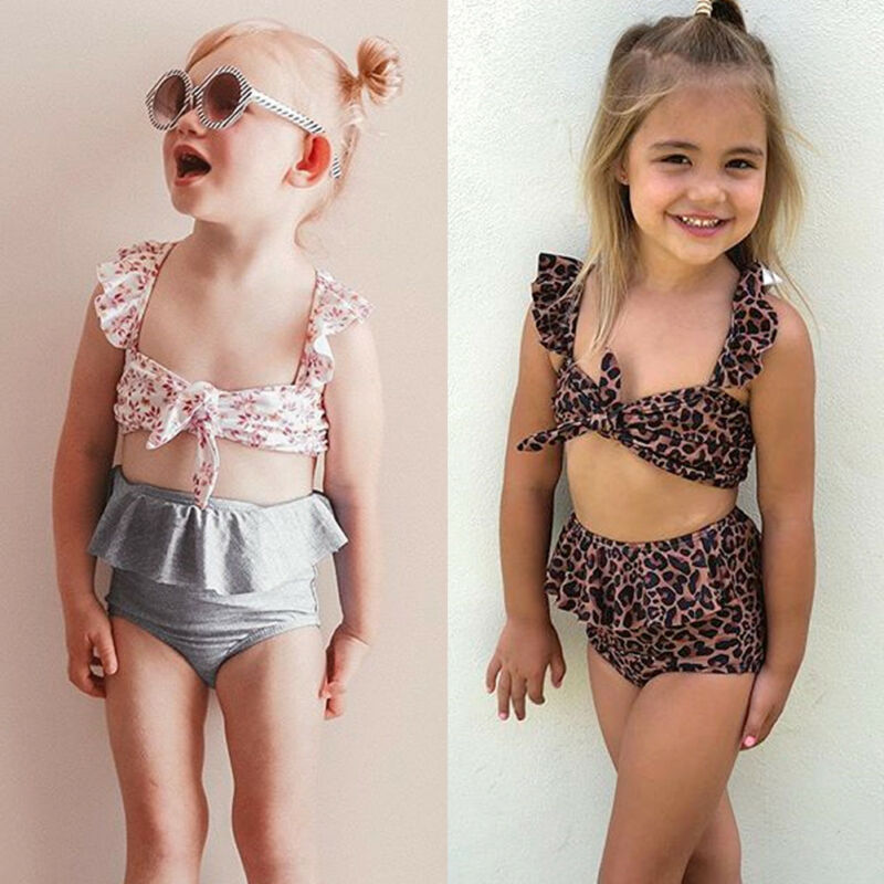 2Pcs Toddler Baby Girl Leopard Swimwear Bathing Suit Bikini Outfits Swimsuit Set 1-5 Years