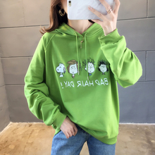 Women's Fashion Sweatshirt Korean Womens Long Sleeve Print Cartoon Hoodie Sweatshirt 2019 new Hooded Drawstring Pullover Tops цены
