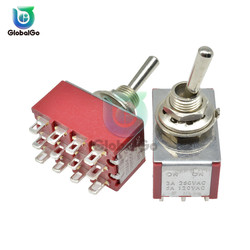 MTS-403 Mini Miniature Toggle Switch 12pin 3 Position 4PDT Rocker Switch On-On On-Off-On 120V 5A 250V 2A 13*22MM