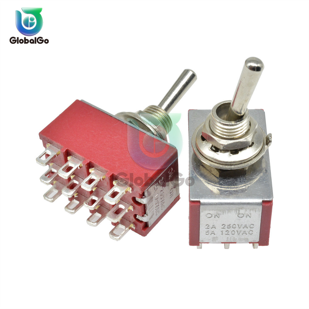 MTS-403 Mini Miniature Toggle Switch 12pin 3 Position 4PDT Rocker Switch On-On On-Off-On 120V 5A 250V 2A 13*22MM image