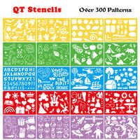 16pcs PP Bambini di colore Disegno Stencil Pittura modello di set di Governanti Inglese/digitale/unicorno/Frutta/Apprendimento strumento di arte