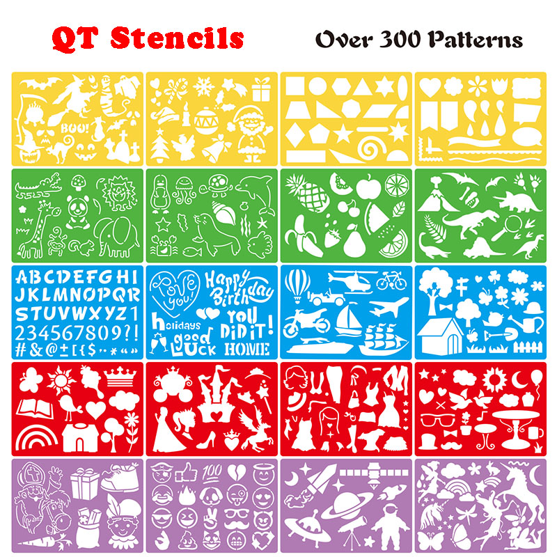 20pcs PP Color Kids Stencil Toys Drawing Painting Template Sets Rulers English /digital/ Unicorn / Fruit/ Learning Art Tool