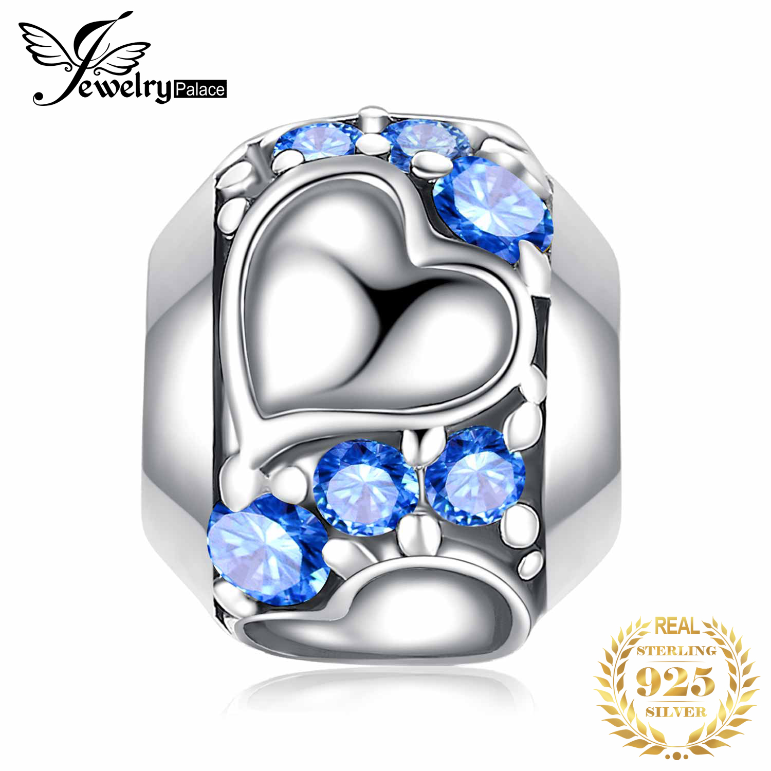 JewelryPalace Faithful Heart 0.4ct Blue Cubic Zirconia 925 Sterling Silver Charm Beads New Hot Sale Beautiful Gifts