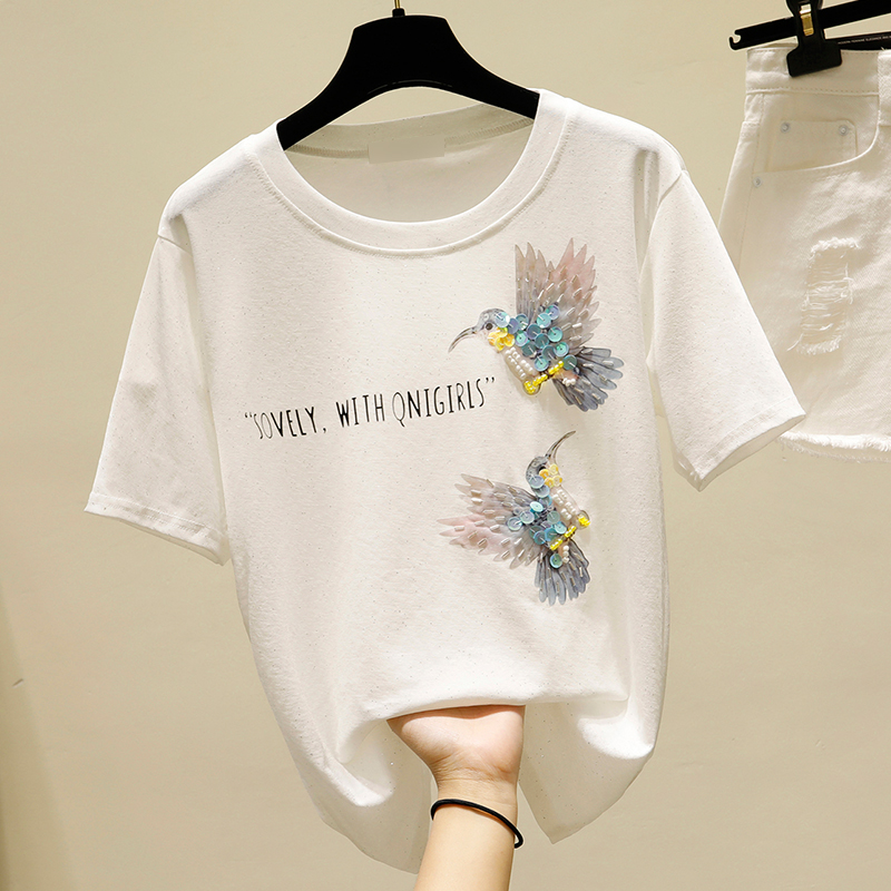 Tee 2020 Spring And Summer New Korean-style Loose-Fit White T-shirt Womens Short Sleeved T-shirt INS Fashion Sequin Bird Tee T