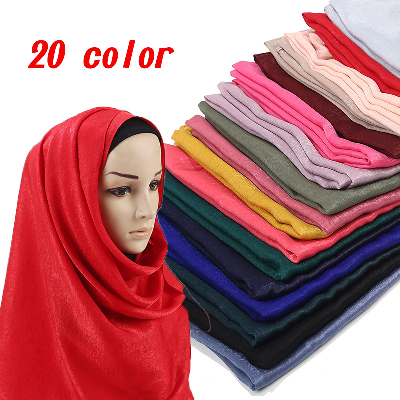 New Smooth Shiny Satin Scarf Shawls Plain Solider Colors Thicken Long Bis Size Hijab muslim scarves/scarf Wholesale price