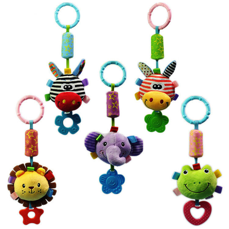 Infant Rattles Cartoon Animal Models Baby Stroller Rattles Tinkle Hand Bell Campanula Pendant Plush Toy With BB Educational Toys