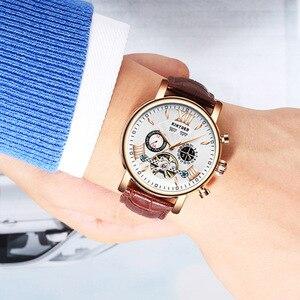 Image 5 - KINYUED montre mécanique automatique, étanche en cuir, mode, calendrier perpétuel, emballage cadeau