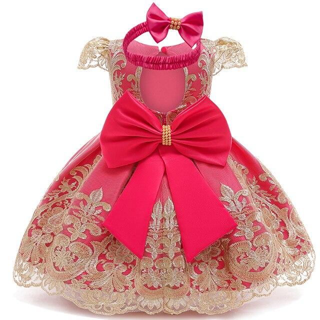 Sukienka dla dziewczynki sukienka dla dziewczynek na imprezę opaska dziecięca dla niemowląt suknia do chrztu Tutu 1 rok sukienka urodzinowa bezpłatny pałąk 6 9 12 24 miesięcy