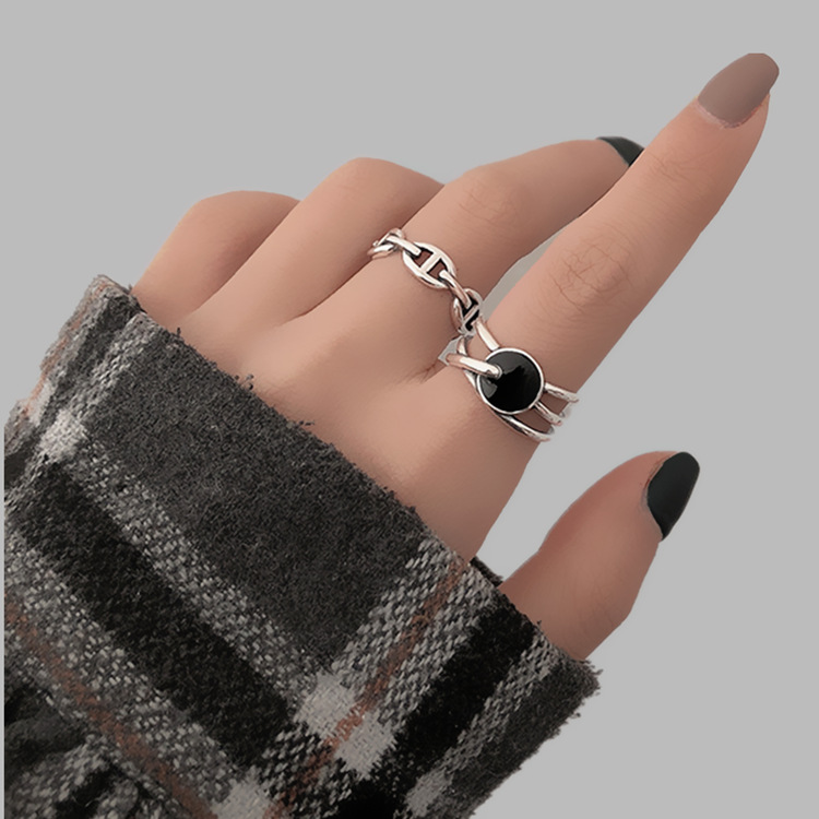 Black Round 925 Sterling Silver Irregular Stackable Line Ring For Women Adjustable Simple Designer Rings Fashion Jewelry