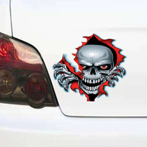 Image 3 - 1PC Red Eyed Skull Computer Stickers PET Vinyl Laptop Skin Sticker Moto Car Suitcase Decoration Decal for MacBook Air 11 13