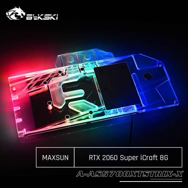 Bykski N-MX2070ICRAFT-X Full Cover Graphics Card Water Cooling Block For Maxsun RTX 2060 Super iCraft 8G