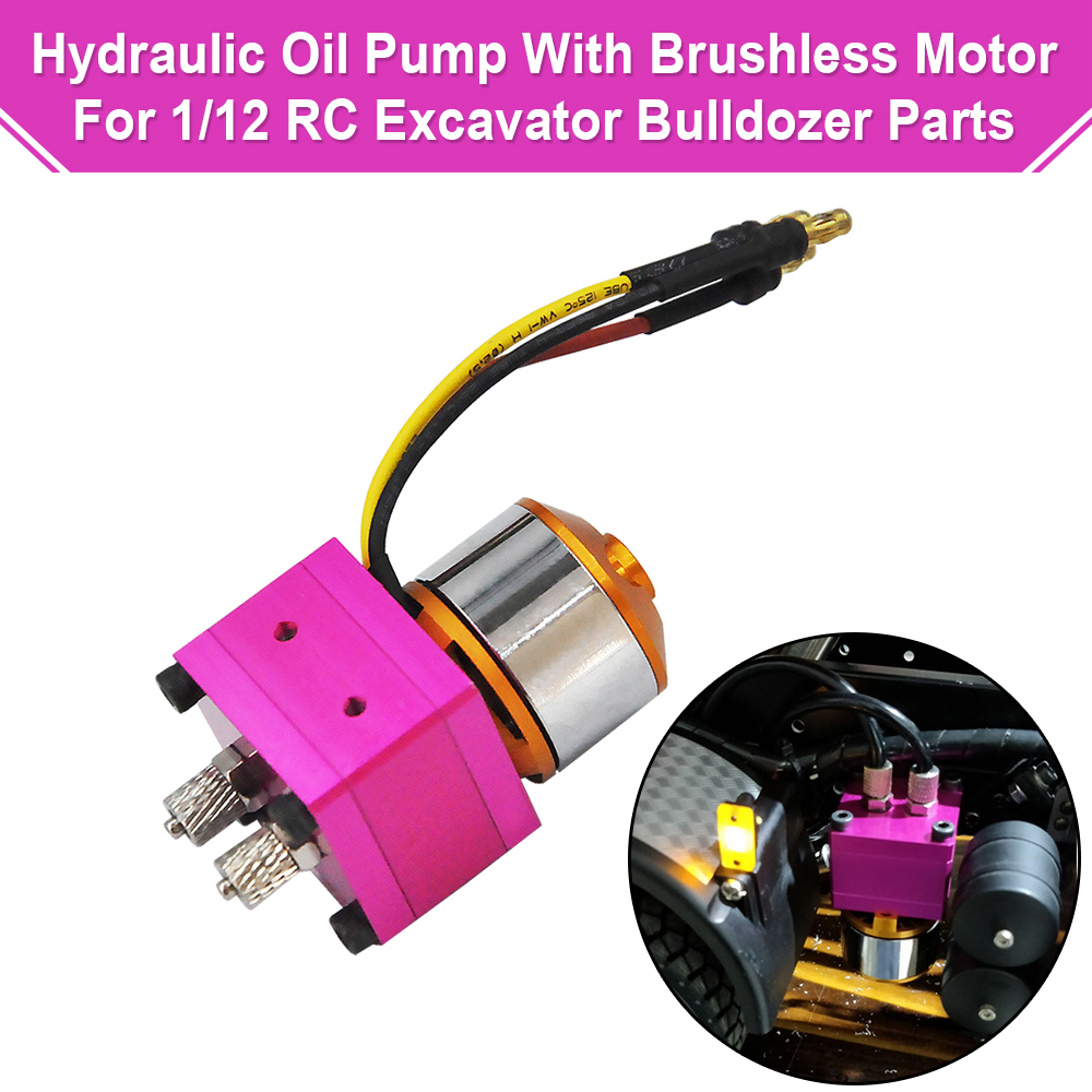 Mini Hydraulic Oil Pump With Brushless Motor For 1/12 RC Excavator Bulldozer Trailer Car Parts