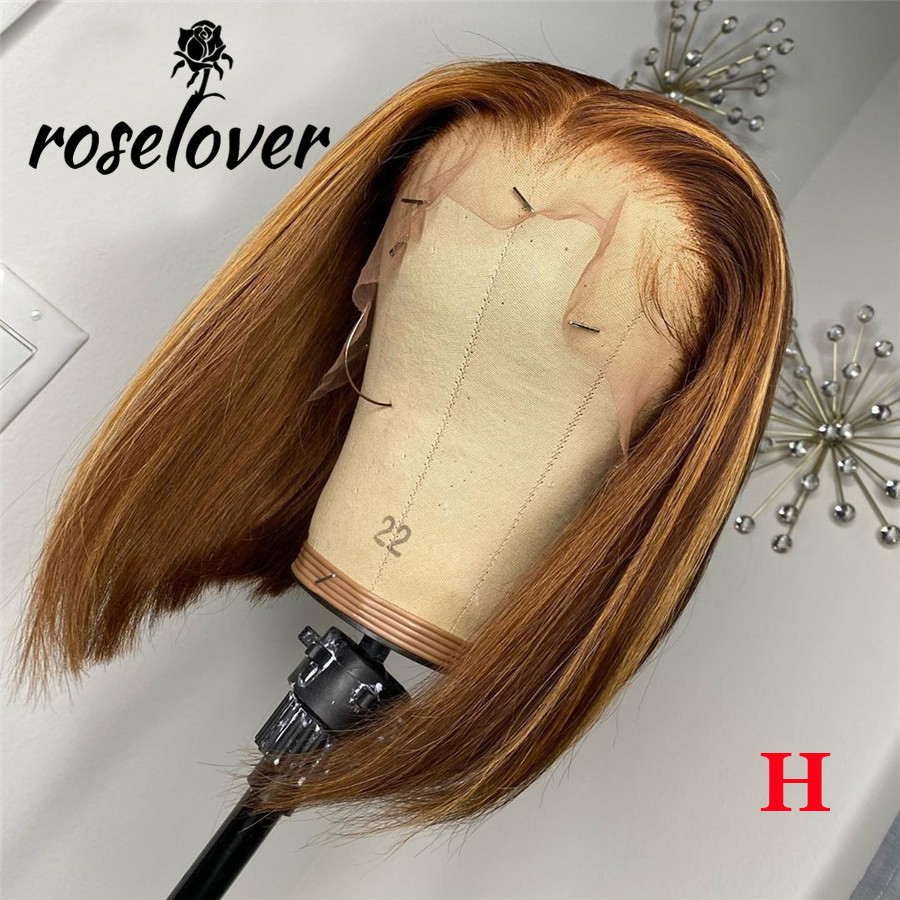 13x6 4/27 Highlight Lace Front Human Hair Wigs For Women Short Bob Lace Wigs Remy Peruvian Ombre Honey Blonde Lace Front Wig