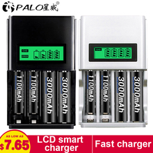 PALO 4 Slots Smart LCD Display Battery Charger For AA / AAA NiCd NiMh Rechargeable Batteries AA/AAA Batteries universal charger c906w multi usage 4 slots lcd display battery charger for nimh nicd aa aaa sc c d 9v rechargeable battery
