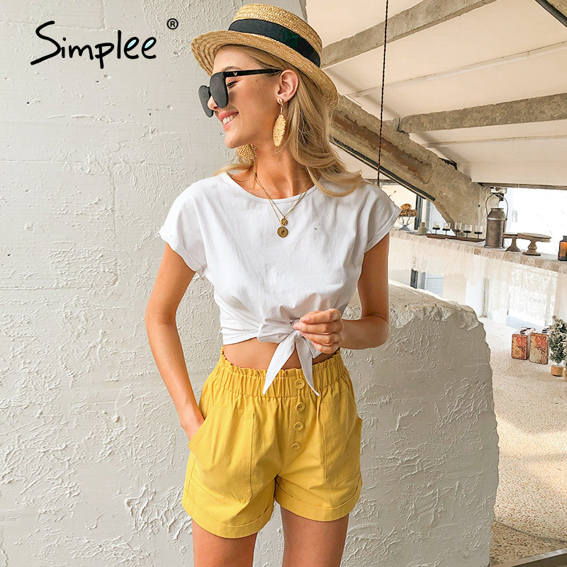 Simplee Casual Solid Women T Shirt Tops Spring Summer Female Cotton Top Shirts Elegant Party Holiday Ladies Tied White T-shirt