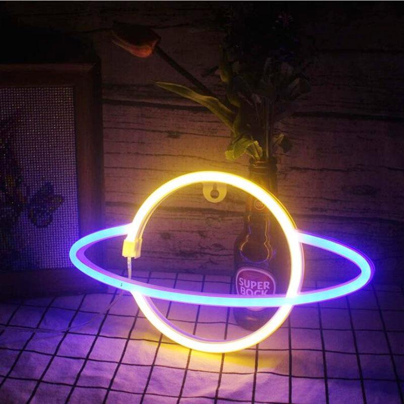 NEW LED Neon Light Lightning LED Wall Lights Battery USB Powered For Party Wedding Home Decor Kids Room Night Lights