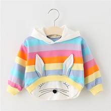 Одежда с кроликом для маленьких девочек; толстовка с капюшоном; Новая Осенняя хлопковая модная спортивная одежда; детская одежда с рисунком кроличья Толстовка; одежда для маленьких девочек