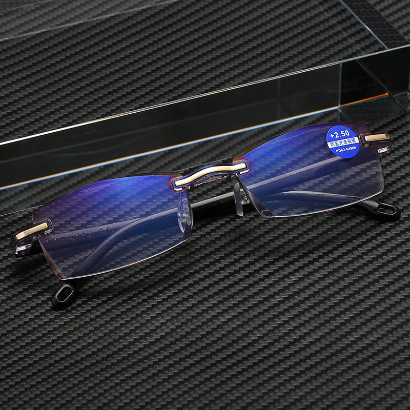 Ahora Anti Blue Light Blocking Rimless Reading Glasses Women Men Square Frameless Presbyopic Glasses Diopters +1.0 1.5 2 2.5 4.0 2
