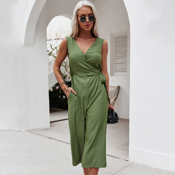 Solid Color Midi Jumpsuits Women 2021 Summer Sleeveless V Neck Lace Up With Pockets Ladies Casual Loose Overalls Bodysuits 1
