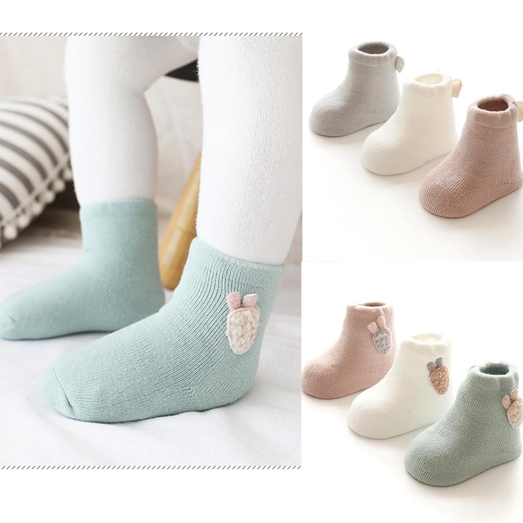 Kids Baby Boys Girls Socks Cotton Children Floor Socks Anti-Slip Baby Step Socks