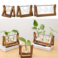 Vintage Ausbreitung Station Glas Hydrokultur Air Pflanzer Birne Terrarium Vase mit Holz Hause Garten Büro Dekoration