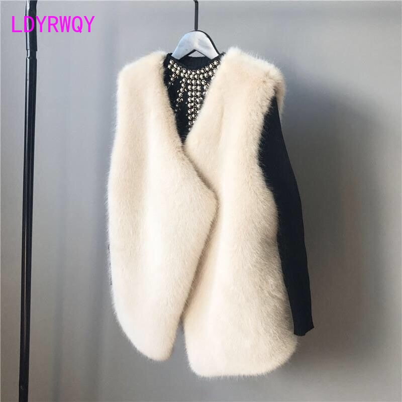 2019 winter new Korean fashion long water velvet vest fur coat female Open Stitch  V-Neck  Solid  Regular  Office Lady