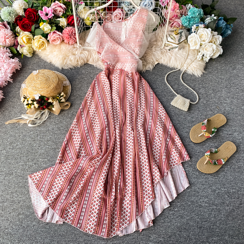 STAERK 2020 Thai Island Of Phuket On Holiday Beach Dress Woman Fairy Bali Beach Condole Belt Dress Pink Kaftan Women's Beach Tun