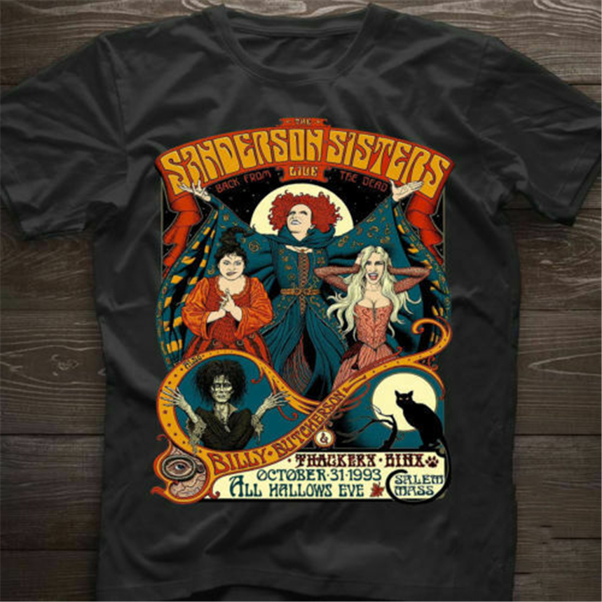 Hocus Pocus The <font><b>Sanderson</b></font> Sisters <font><b>Shirt</b></font> Halloween Black Classic Cotton T-<font><b>Shirt</b></font> Fashion Tee <font><b>Shirt</b></font> image