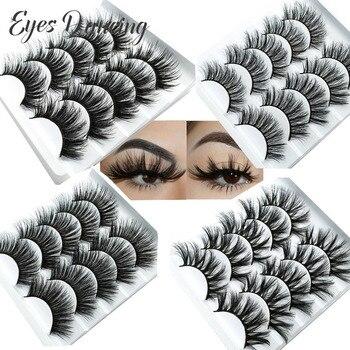 Eyes Dancing 5Pairs 3D Faux Mink Hair Lashes Natural/Thick/Crisscross Long Eye Wispy Makeup Multi-pack Eyelash Extension