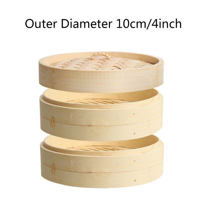 2 Tier With Lid Bamboo Steamer Basket Asian Food Steamer For Dim Sum Dumplings Y5GB