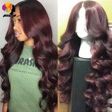 Бордовые перуанские волнистые человеческие волосы парики для женщин 99J красный прозрачный 13*1 кружевной передний парик Remy человеческие вол...