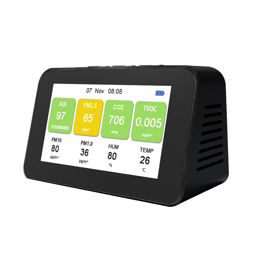 DM601 PM2 5 PM1 0 PM10 CO2 TVOC Particle Detectors Multi-function  LCD Screen Air Quality Detector Temperature Humidity Monitor