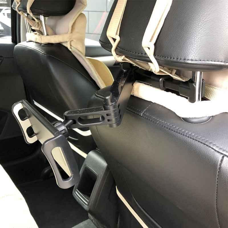 مرنة 360 درجة الدورية لباد وسادة سيارة حامل هاتف المحمول اللوحي حامل الظهر مسند الرأس بالمقعد جبل قوس 4-11 بوصة