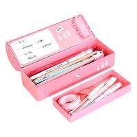 Criativo multifuncional caixa de papelaria duplo senha bloqueio caso lápis grande capacidade portátil multicamadas caso de lápis
