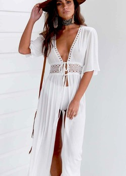 Bikini Cover Up Beach Long Maxi Dress Women Beach Cover Up Tunic Pareo White V Neck Dress Robe Swimwear Bathing Suit Beachwear guidecraft dress up cubby center white
