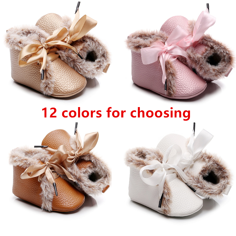 Baby Boys Shoes Winter Boots For Baby Winter Warm Baby Girl PU Leather Shoes Lace-up Soft Fur Shoes Prewalker Walking Toddler