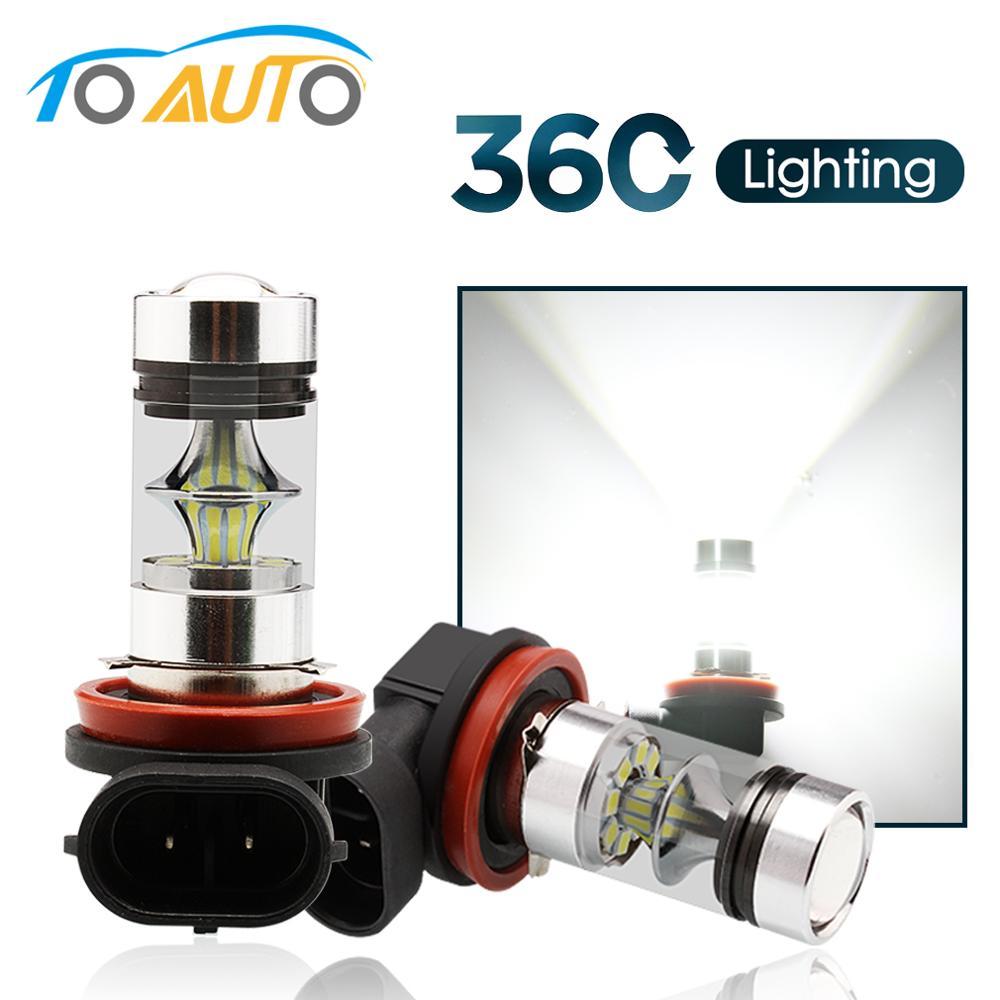 2 pçs h11 h8 led 360 luz de nevoeiro lâmpadas 9005 hb3 hb4 9006 carro led correndo luzes condução da lâmpada 12 v 6000 k branco