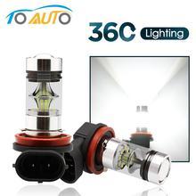 2pcs H11 H8 LED 360 ערפל אור נורות 9005 HB3 HB4 9006 רכב LED אורות ברכב נהיגה מנורה 12V 6000K לבן