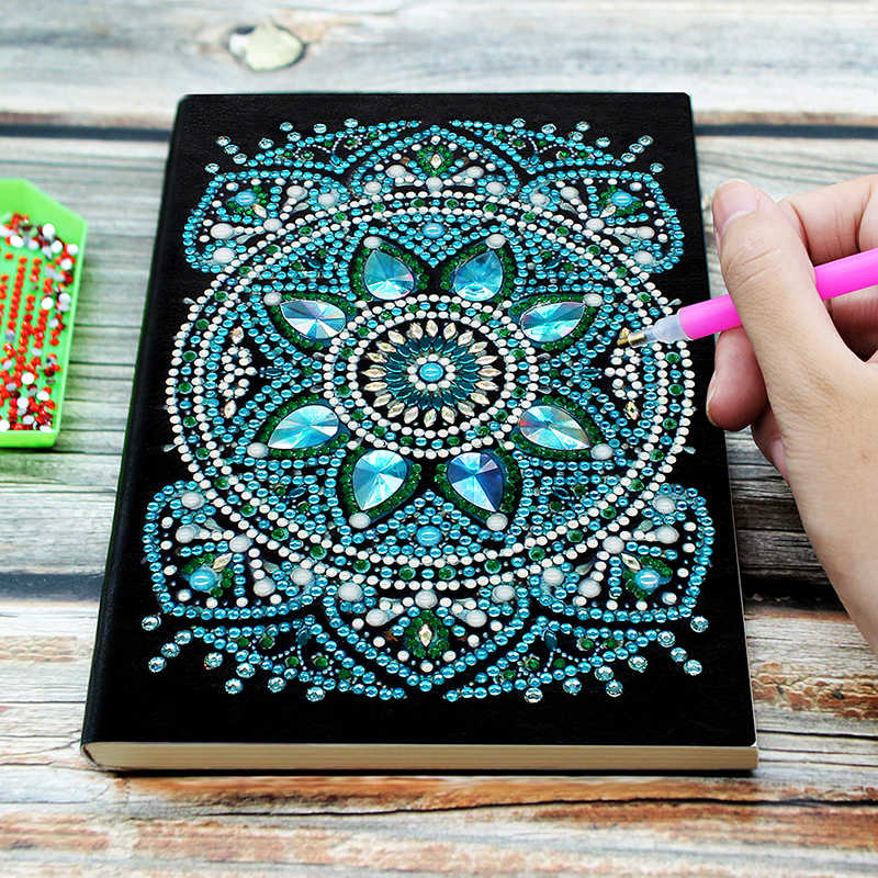 64 Halaman Lukisan Berlian Notebook DIY Mandala Berbentuk Khusus Diamond Bordir Cross Stitch A5 Notebook Pemandangan Buku Diary