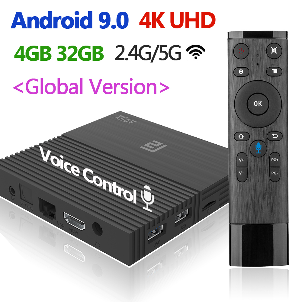 New Voice Control TV Box 4K Android 9.0 A95 F2 4GB 32GB 64GB Smart Video Media Player Set Top Box 2.4G/5G Wifi Global Universal