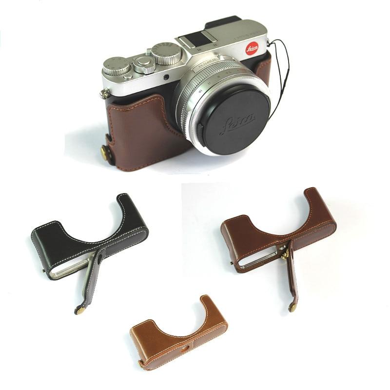 Funda la mitad del cuerpo de la mitad de café para Canon EOS M3 cámara bolsa de cuero caso inferior