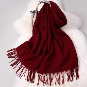 Image 5 - Inverno 100% Pura Lana Della Sciarpa del Collo Scaldino Donne Echarpe Wrap con la Nappa Pashmina Foulard Femme Merino Cashmere Sciarpe per le Signore