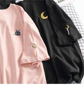Women Sailor Moon Cartoon T Shirts Summer Short Sleeve Tops Ladies Casual Streetwear Harajuku Kawaii Tee Shirt Femme