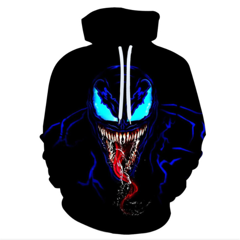 Superhero Venom Hoodies Men Women Sweatshirts Cool Spider-man Printed 3d Hoodie Hip Hop Pullover Hooded Casual Streetwear Tops