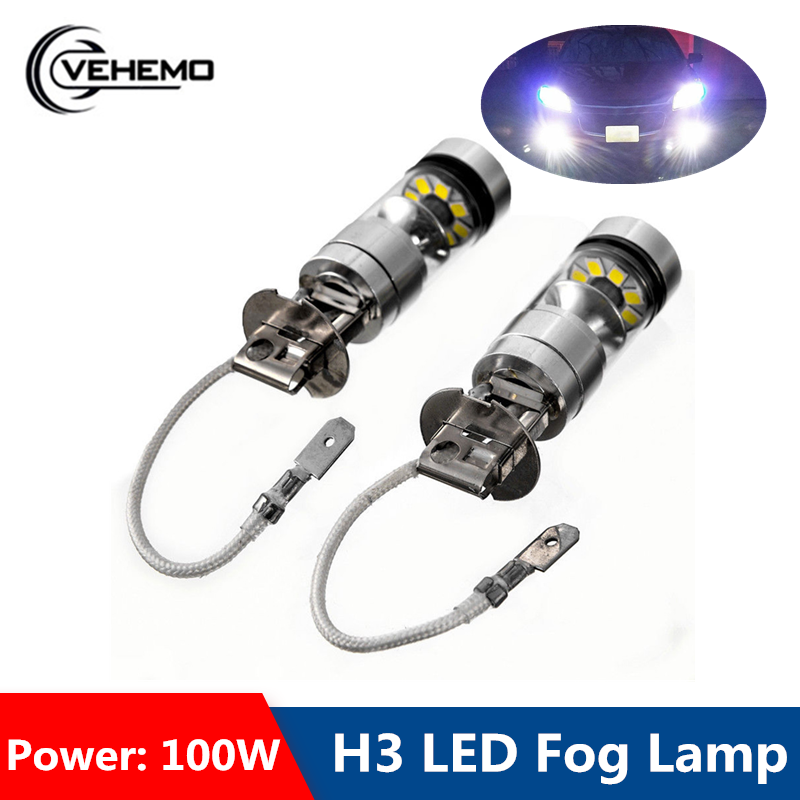 VEHEMO 2Pcs <font><b>H3</b></font> 12/24V High Power <font><b>LED</b></font> Auto Fog Light <font><b>100W</b></font> Durable Fog Lamp Headlight Driving Bulb Super Bright Car image