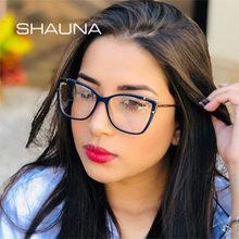 SHAUNA – lunettes rétro œil de chat pour femmes, charnière de printemps optique Anti lumière bleue, monture de lunettes TR90 en métal pour hommes