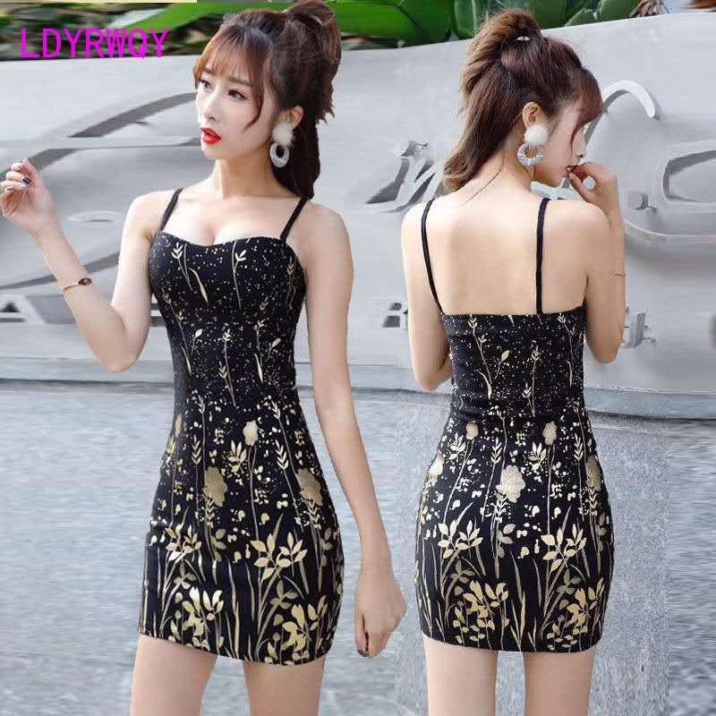 Nightclub sexy women's 2020 summer tide deep V low chest dress printed bronzing strap bag hip Office Lady  Sleeveless