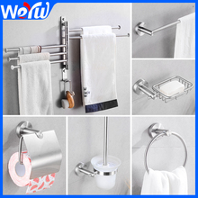 Bathroom Towel Bar Holder Rack Mounted Arms Hanging with Hooks Toilet Paper Shelf Wall Mount Robe Hook